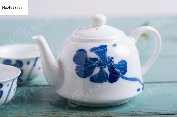 手绘莲花茶壶图片