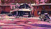 街道风景油画