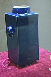 蓝釉四方瓷器