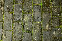 青砖地面缝隙内的青苔