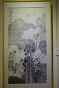山中人物赏景水墨画