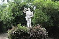 桂林七星景区内的小红军雕塑