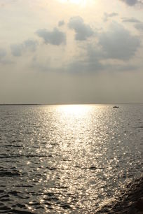 夕阳中的金色海面
