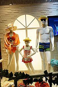 家庭泳装模特展示