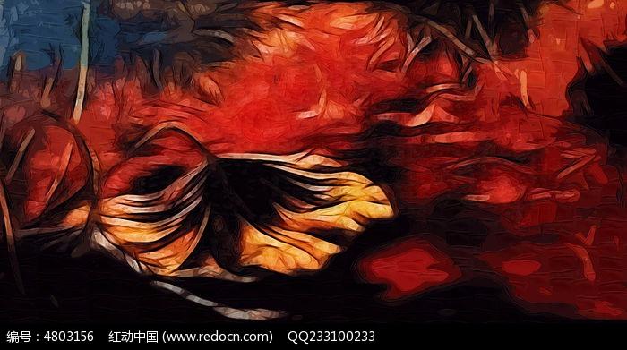 荷花抽象油画装饰画图片