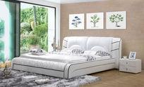 现代卧室白色皮床