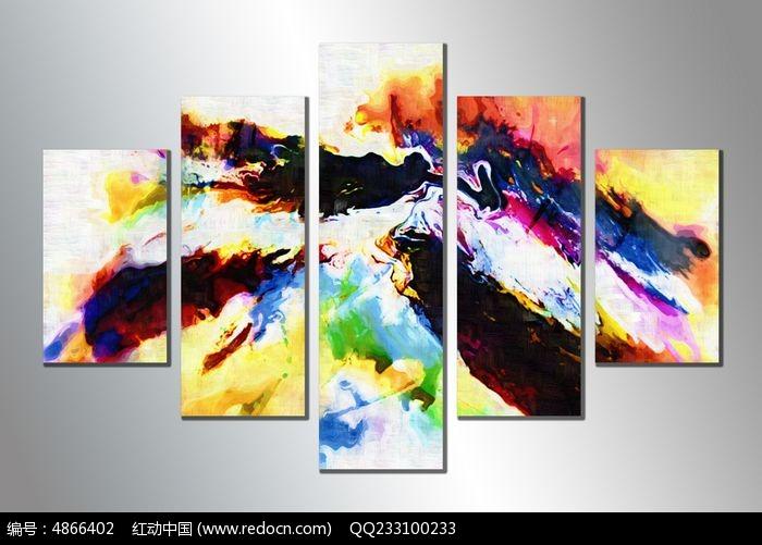 客厅三联抽象画 装饰画图片
