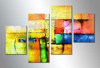 漂亮的三联抽象油画