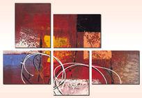 抽象油画抽象画三联抽象装饰画