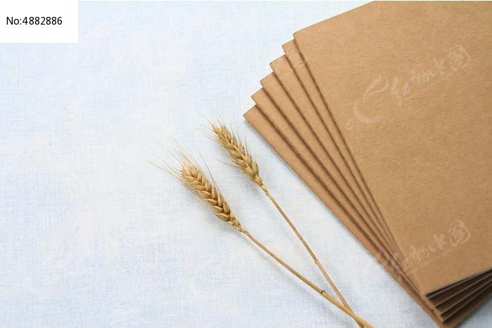 日记本和金色麦穗图片