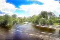 电脑抽象画《梦幻森林河》