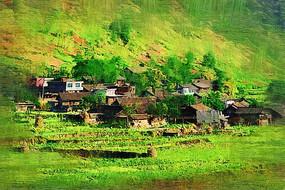 电脑油画《黔南山村》