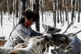 电脑抽象画《猎民与驯鹿》