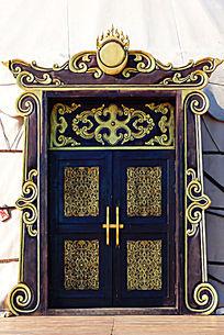 蒙古族风格的木门