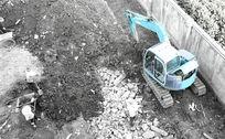 挖机作业-黑白