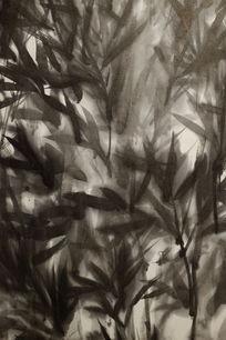风吹竹林水墨背景