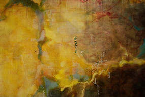 黄色烟雾墙体彩绘背景素材