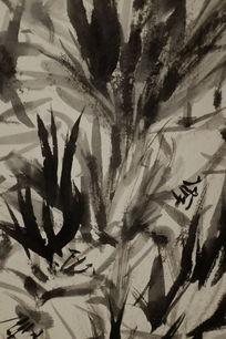 竹叶水墨背景