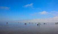 蓝天白云的海滩