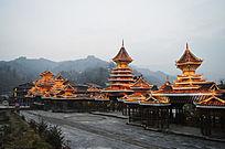 肇兴侗寨具有民族特色的景区亮化夜景照片