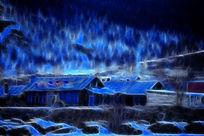 电脑抽象画《雪落山村》