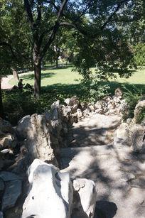 树林里的石路
