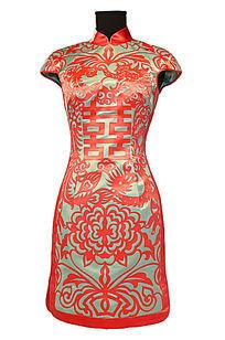 喜上中国短袖旗袍