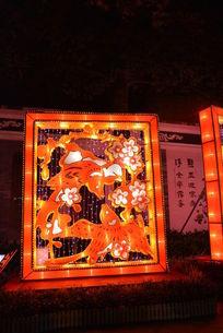 广州中秋花灯喜鹊梅花夜景