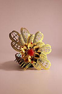 大花朵金色镂空雕刻发钗