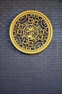 金色圆型桃花装饰图案
