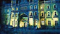 古典欧式建筑油画