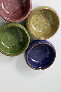 彩色冰裂纹陶瓷茶杯多肉植物花盆