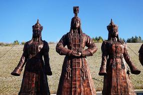 雕塑《盛装蒙古人》