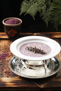 养生紫米烩海参美食摄影
