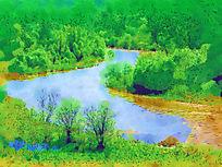 电脑抽象画《森林河风景》