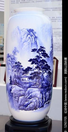 山水观瀑图大花瓶