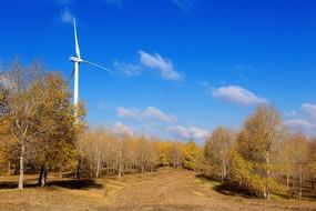 张北草原天路上的蓝天和风车