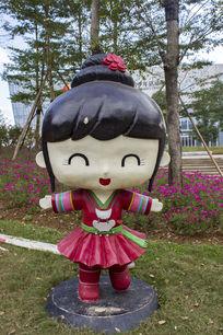 侗族女孩卡通造型雕像