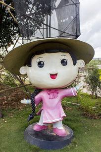 京族女孩卡通造型雕像