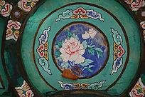 中国传统圆形牡丹祥云边框线条
