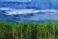 电脑油画《山林云海》