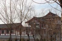 冬日里的唐朝风格建筑一角