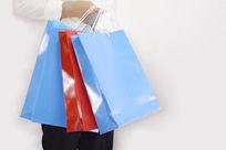 手提购物袋特写图片