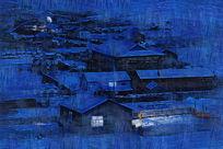 电脑油画《宁静的雪村之夜》