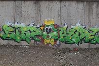 北京798绿色小猫涂鸦墙