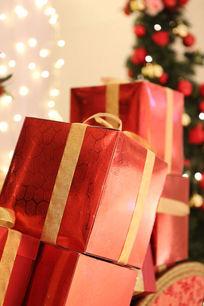 圣诞节红色礼品包装盒