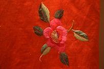 民国红色花卉线条