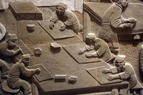 壁刻古代印刷术排版场景石雕