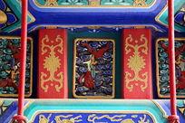 蓝底鎏金的古代龙纹图案