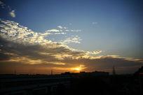 落日夕阳剪影
